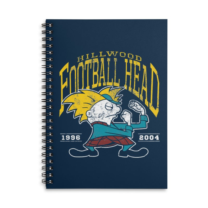 Football Head Accessories Lined Spiral Notebook by Stephen Hartman Illustration Shop