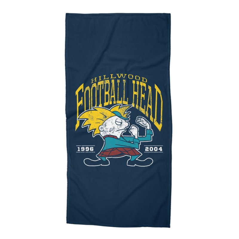 Football Head Accessories Beach Towel by Stephen Hartman Illustration Shop