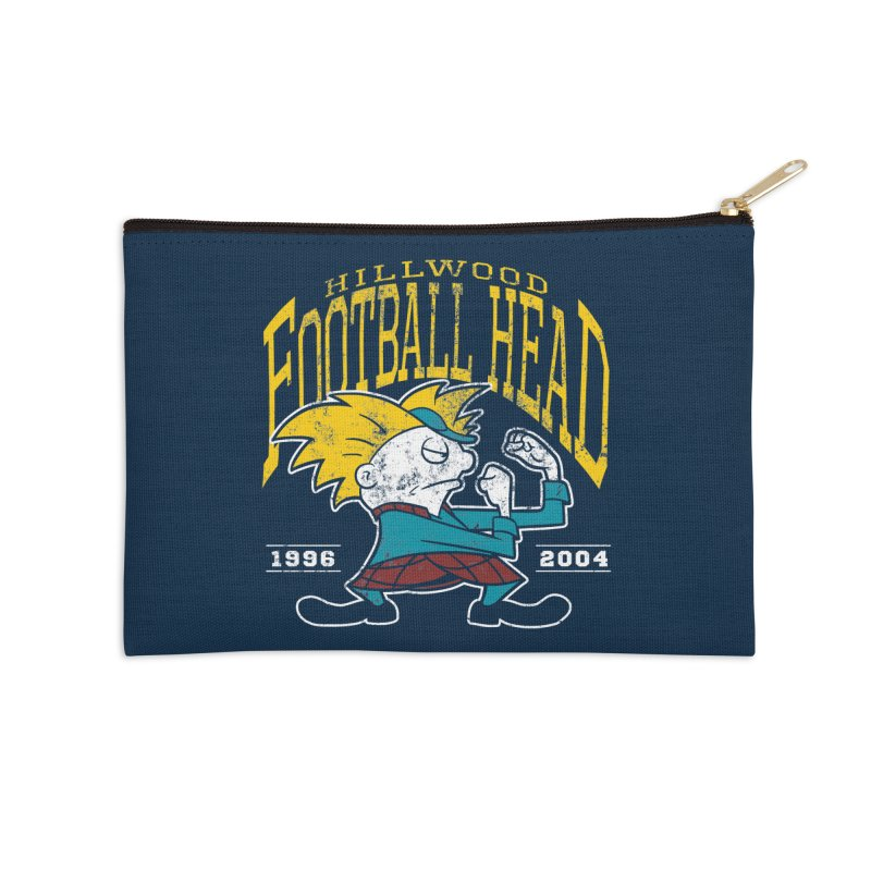Football Head Accessories Zip Pouch by Stephen Hartman Illustration Shop