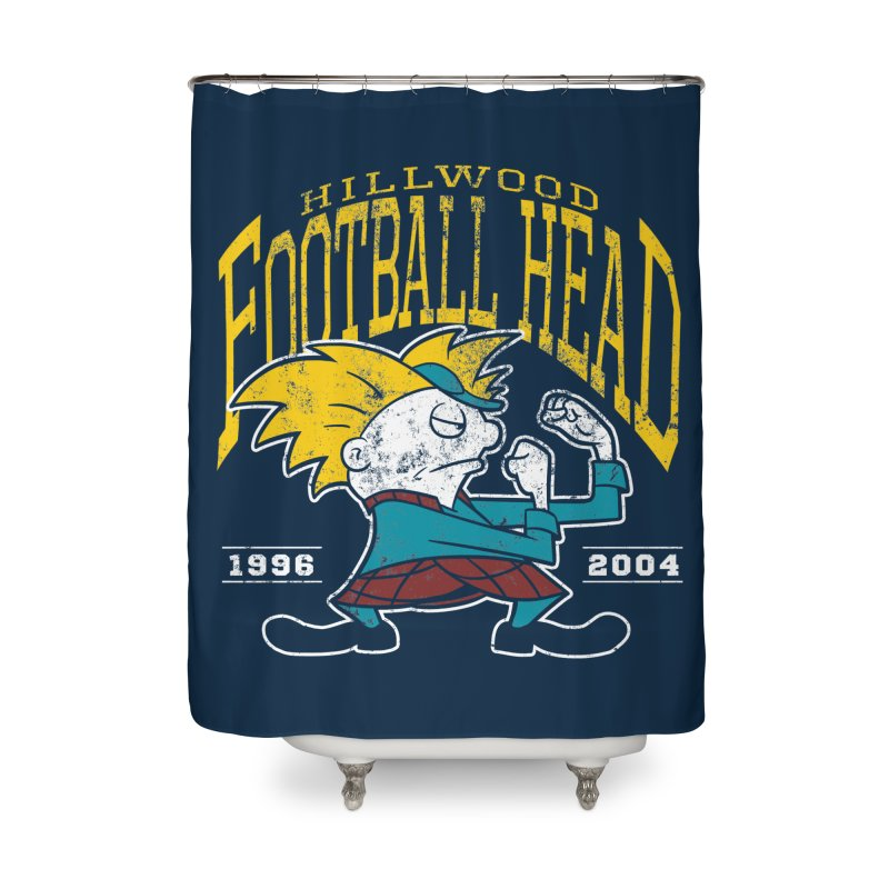Football Head Home Shower Curtain by Stephen Hartman Illustration Shop