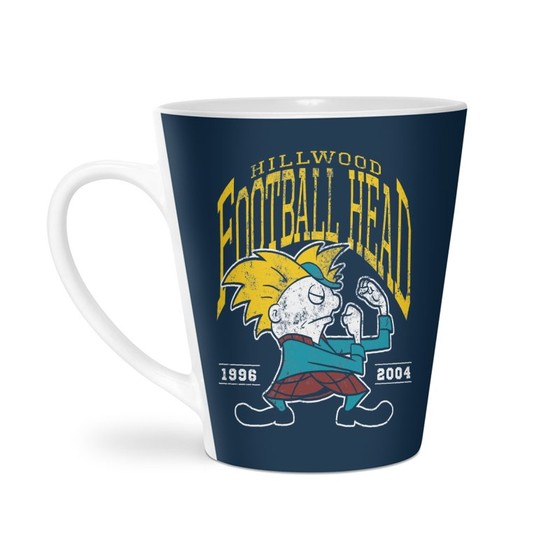 Football Head Accessories Latte Mug by Stephen Hartman Illustration Shop