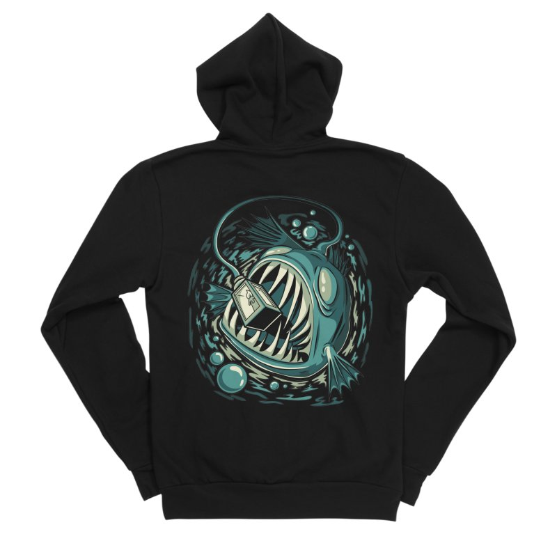 Lantern Fish Men's Sponge Fleece Zip-Up Hoody by Stephen Hartman Illustration Shop