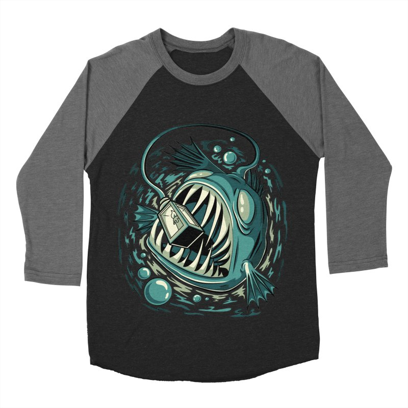 Lantern Fish Men's Baseball Triblend Longsleeve T-Shirt by Stephen Hartman Illustration Shop