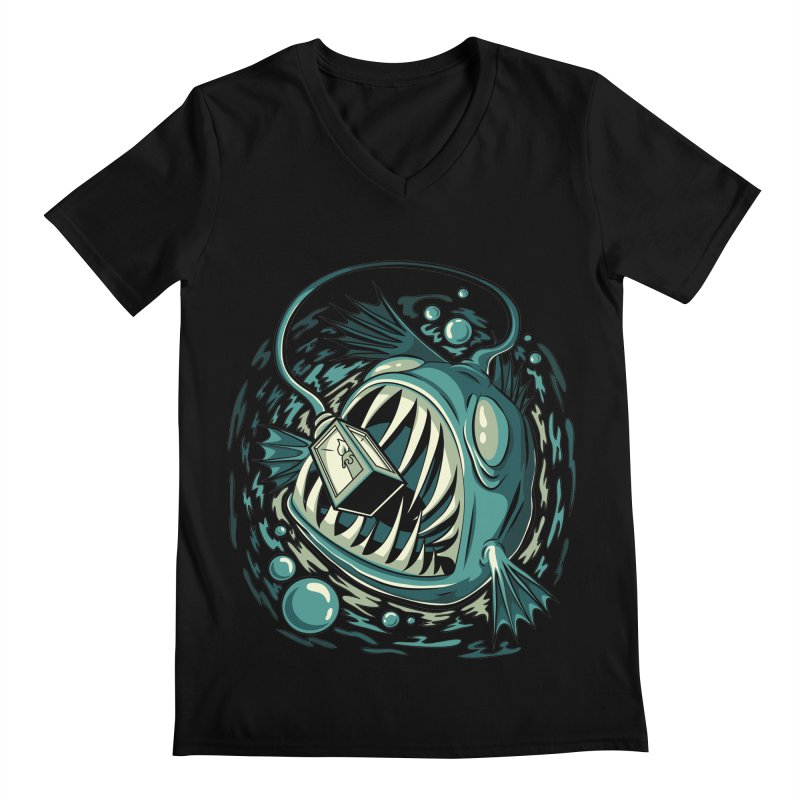 Lantern Fish Men's Regular V-Neck by Stephen Hartman Illustration Shop
