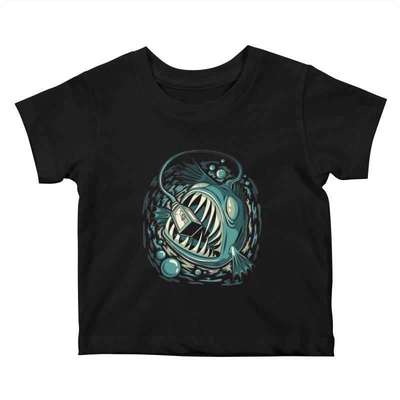 Lantern Fish Kids Baby T-Shirt by Stephen Hartman Illustration Shop