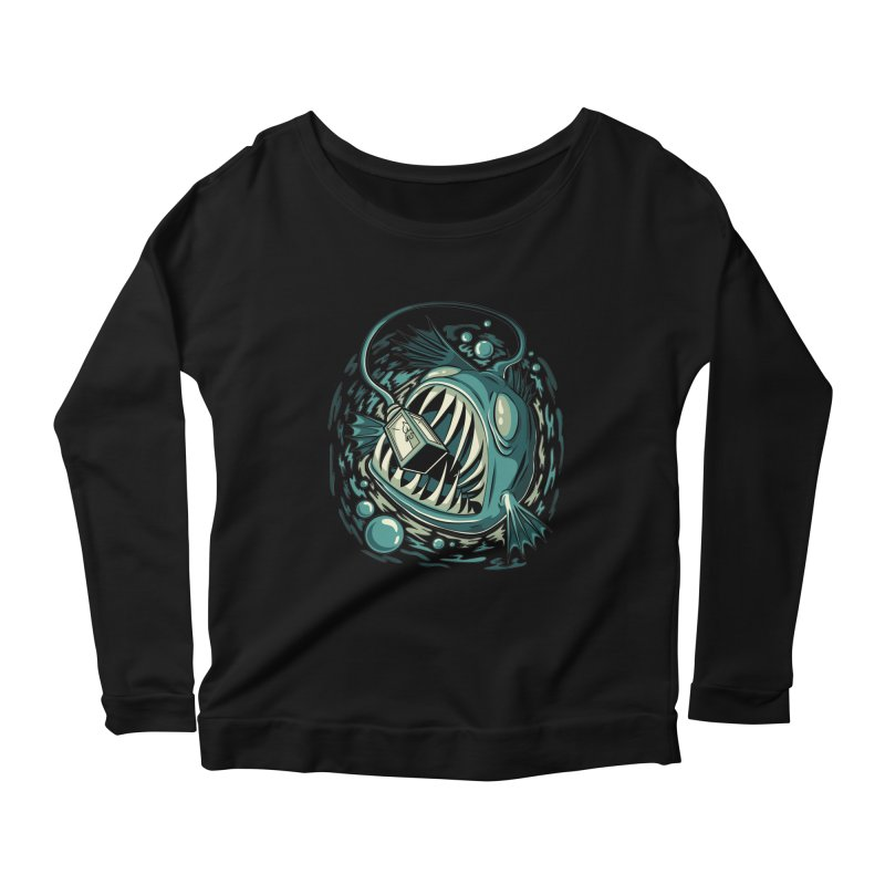 Lantern Fish Women's Scoop Neck Longsleeve T-Shirt by Stephen Hartman Illustration Shop