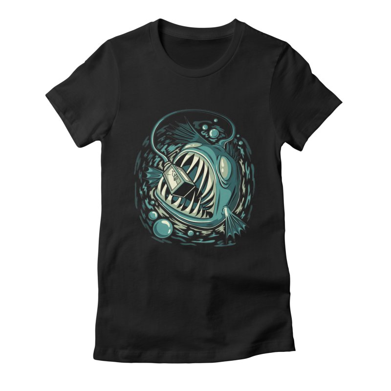 Lantern Fish Women's Fitted T-Shirt by Stephen Hartman Illustration Shop