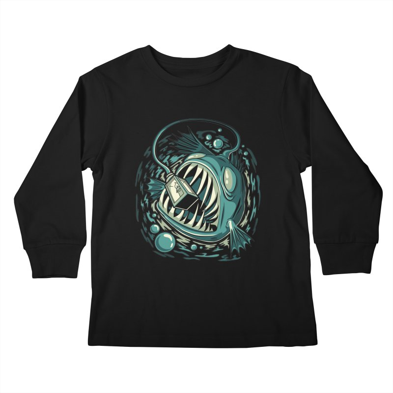 Lantern Fish Kids Longsleeve T-Shirt by Stephen Hartman Illustration Shop
