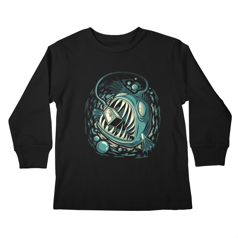 Lantern Fish Kids Longsleeve T-Shirt by Stephen Hartman Illustration Shop