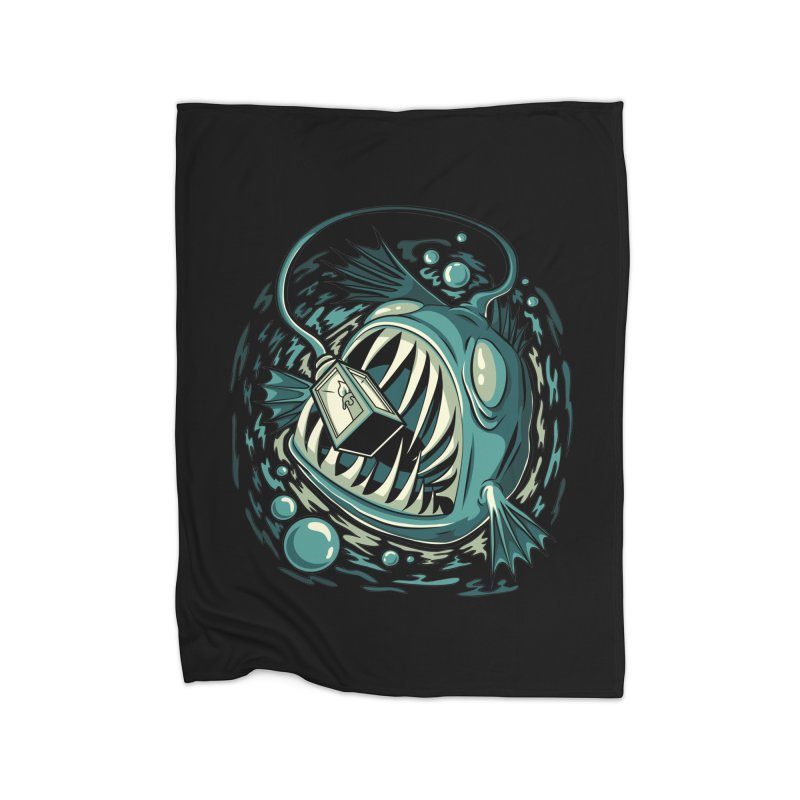 Lantern Fish Home Fleece Blanket Blanket by Stephen Hartman Illustration Shop