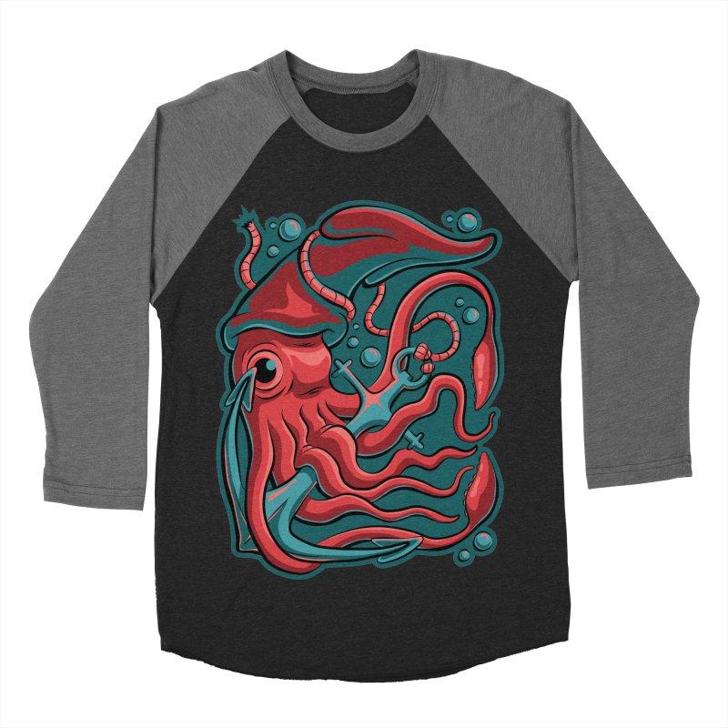 Squid Men's Baseball Triblend Longsleeve T-Shirt by Stephen Hartman Illustration Shop
