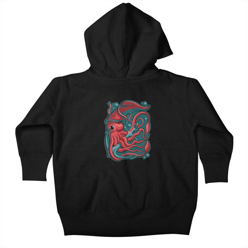 Squid Kids Baby Zip-Up Hoody by Stephen Hartman Illustration Shop