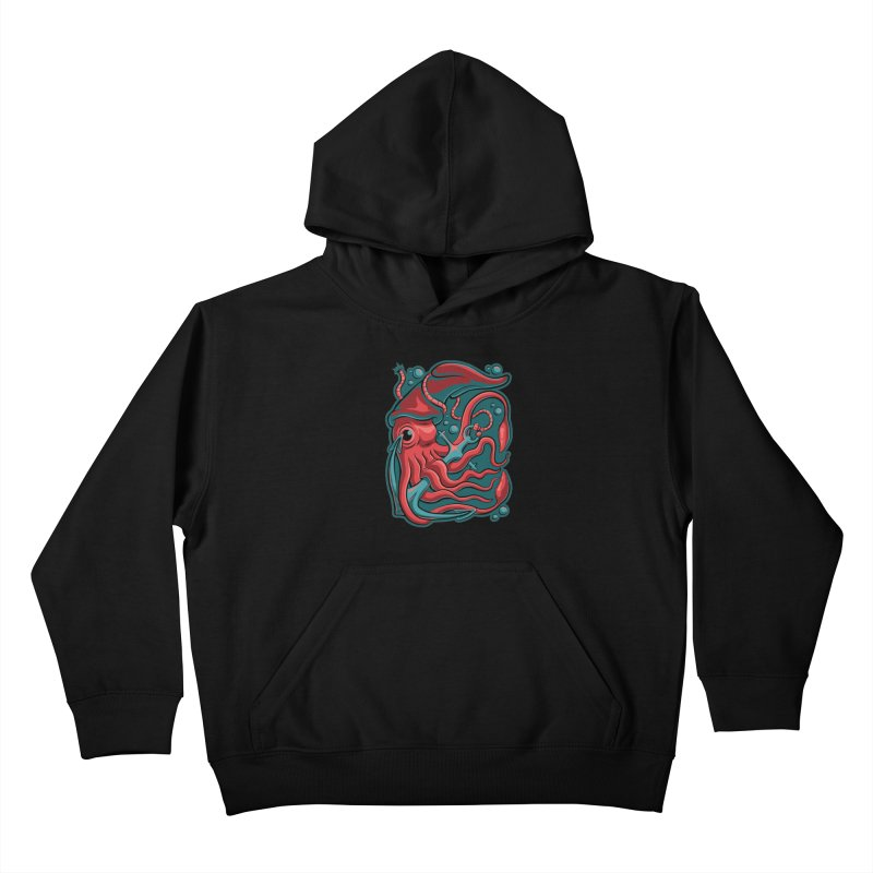 Squid Kids Pullover Hoody by Stephen Hartman Illustration Shop