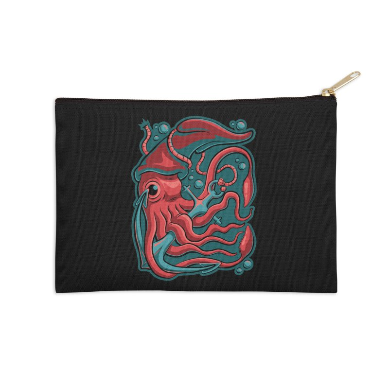 Squid Accessories Zip Pouch by Stephen Hartman Illustration Shop