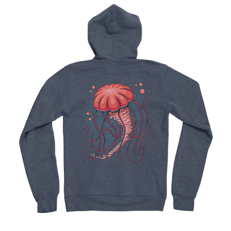 Jellyfish Men's Sponge Fleece Zip-Up Hoody by Stephen Hartman Illustration Shop