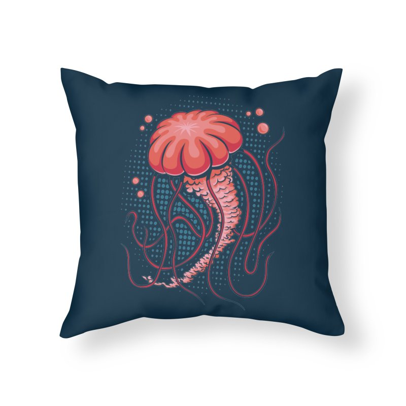 Jellyfish Home Throw Pillow by Stephen Hartman Illustration Shop