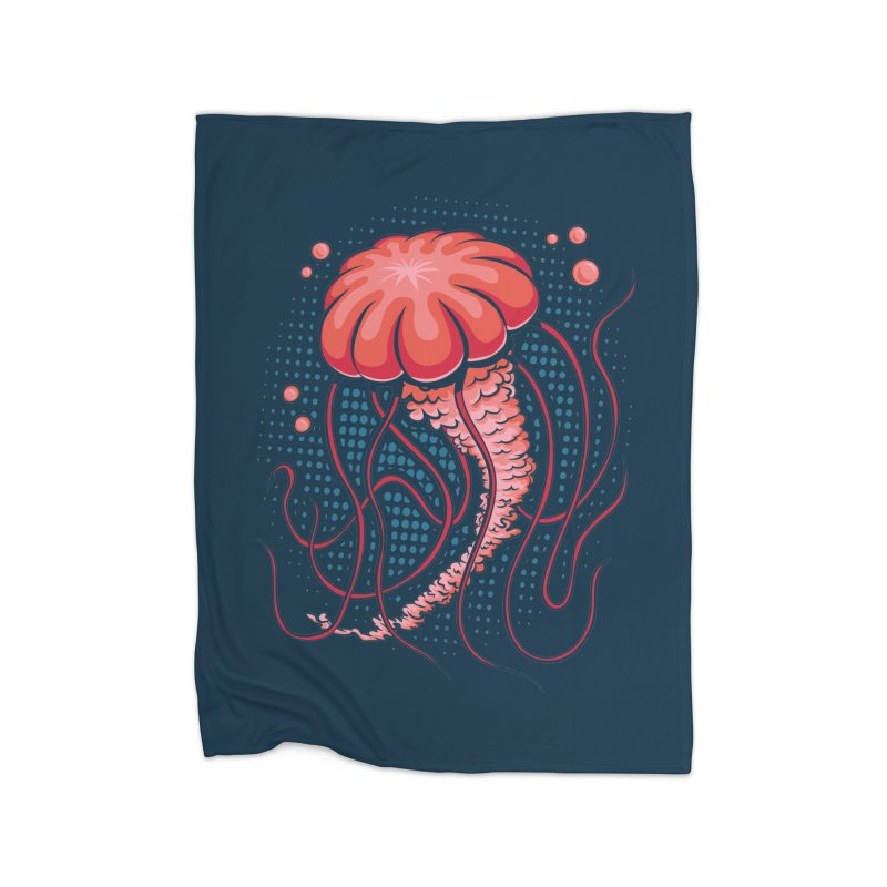 Jellyfish Home Fleece Blanket Blanket by Stephen Hartman Illustration Shop