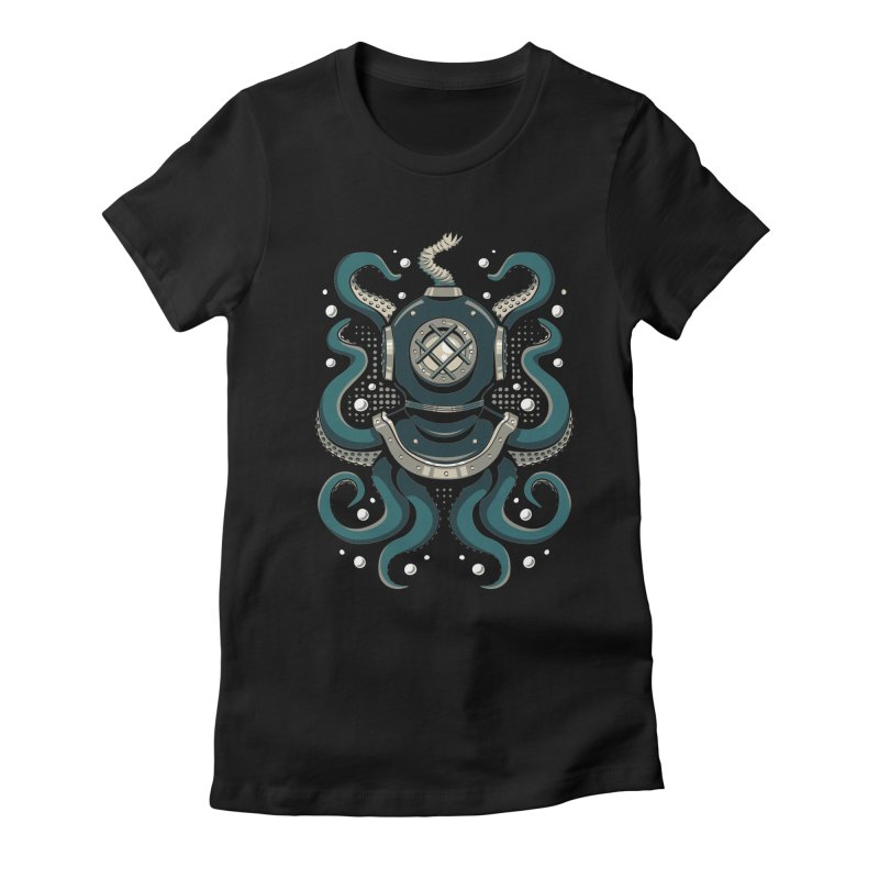 Nautical Depths Women's Fitted T-Shirt by Stephen Hartman Illustration Shop