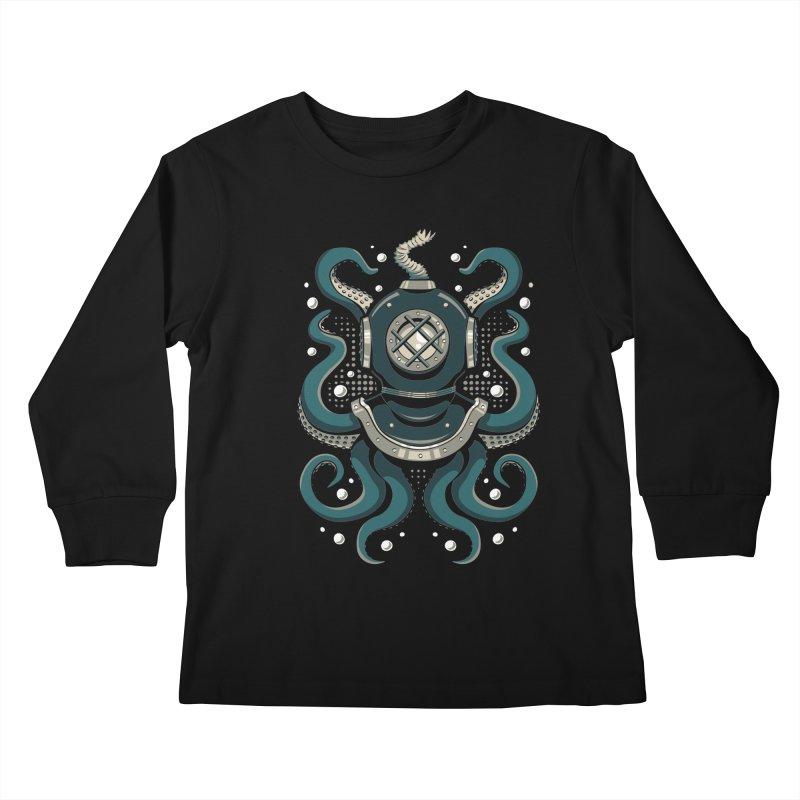 Nautical Depths Kids Longsleeve T-Shirt by Stephen Hartman Illustration Shop
