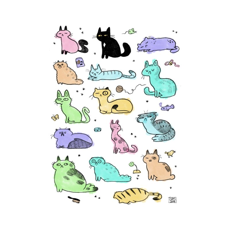 Pastel Doodle Cats by Steph Stanga's Artist Shop