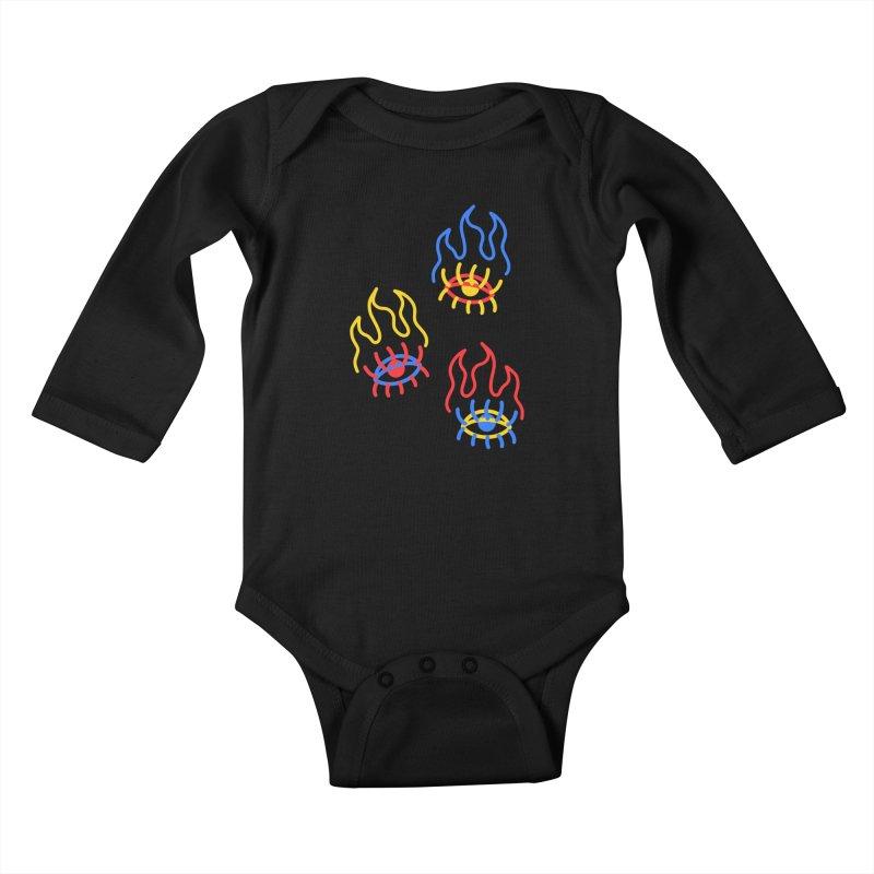 F(EYE)RE Kids Baby Longsleeve Bodysuit by stephupsidefrown's Artist Shop