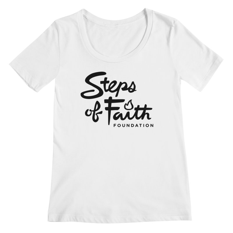 Steps of Faith_Black  Women's Regular Scoop Neck by stepsoffaith's Artist Shop