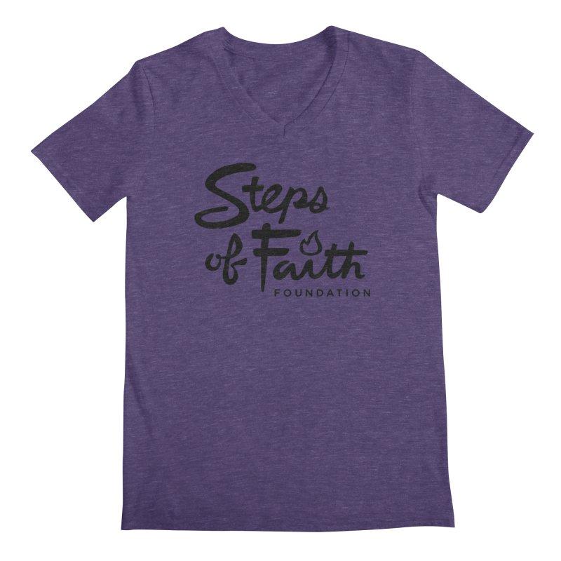 Steps of Faith_Black  Men's Regular V-Neck by Steps of Faith