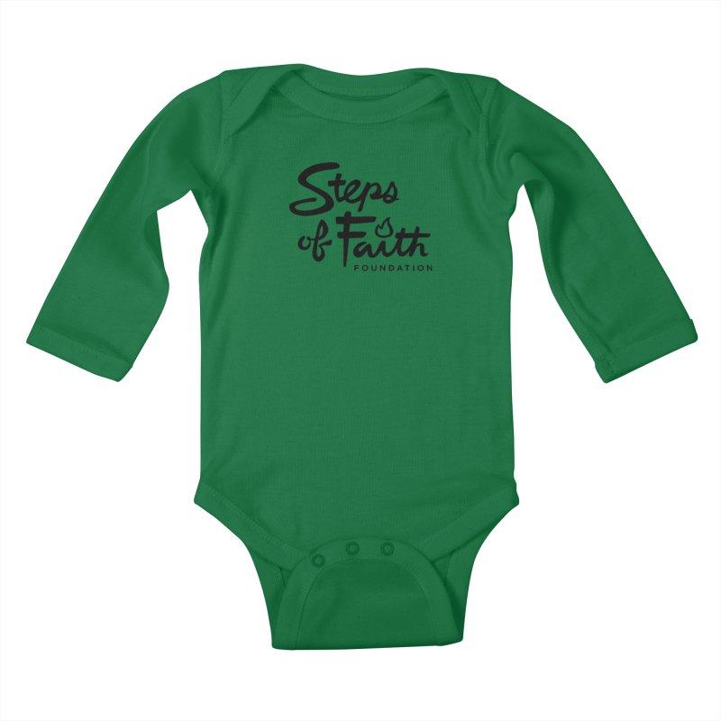 Steps of Faith_Black  Kids Baby Longsleeve Bodysuit by Steps of Faith
