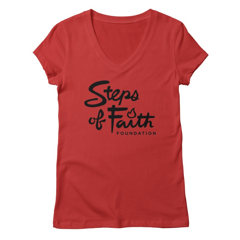 Steps of Faith_Black  Women's Regular V-Neck by stepsoffaith's Artist Shop