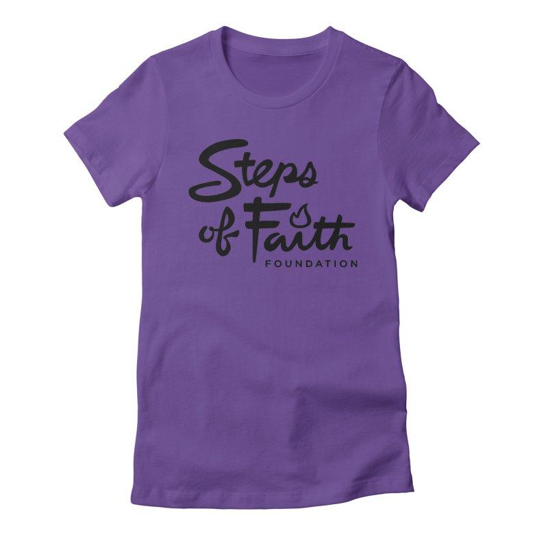 Steps of Faith_Black  Women's Fitted T-Shirt by stepsoffaith's Artist Shop