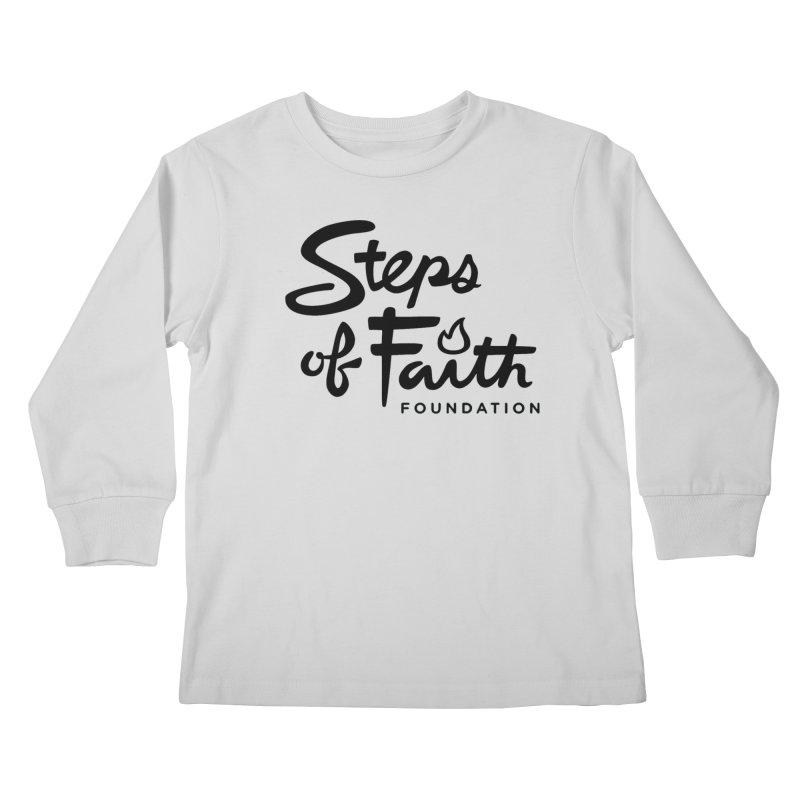Steps of Faith_Black  Kids Longsleeve T-Shirt by stepsoffaith's Artist Shop