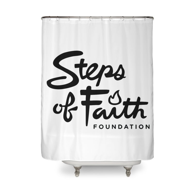 Steps of Faith_Black  Home Shower Curtain by stepsoffaith's Artist Shop