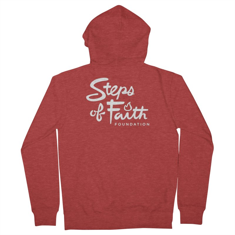 Steps of Faith_White Women's French Terry Zip-Up Hoody by Steps of Faith