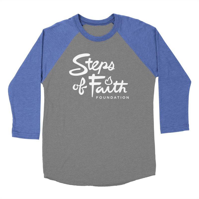 Steps of Faith_White Men's Baseball Triblend Longsleeve T-Shirt by Steps of Faith