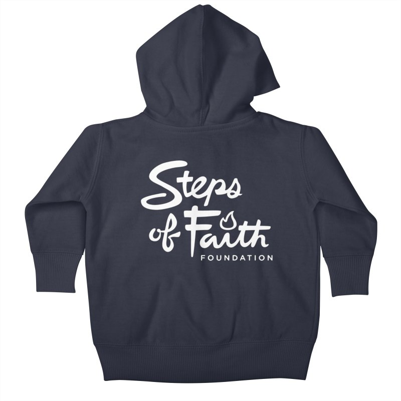 Steps of Faith_White Kids Baby Zip-Up Hoody by stepsoffaith's Artist Shop