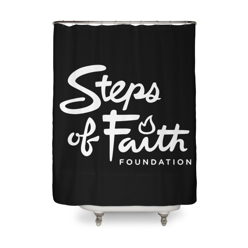 Steps of Faith_White Home Shower Curtain by stepsoffaith's Artist Shop