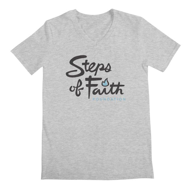 Steps of Faith Logo - Blue Men's Regular V-Neck by Steps of Faith