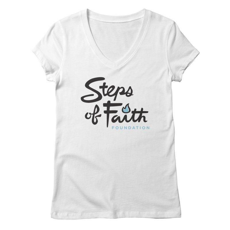 Steps of Faith Logo - Blue Women's Regular V-Neck by stepsoffaith's Artist Shop