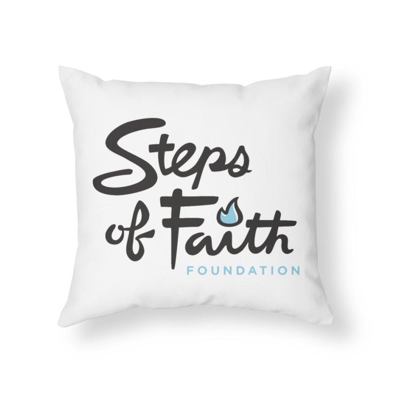 Steps of Faith Logo - Blue Home Throw Pillow by Steps of Faith