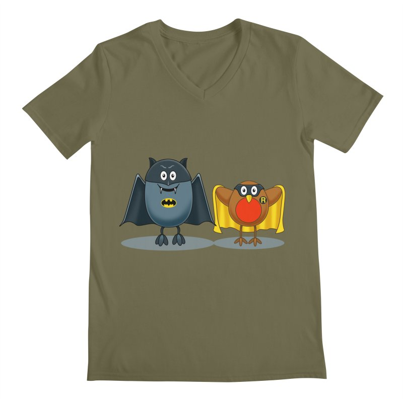 Bat and Robin Men's V-Neck by steveash's Artist Shop