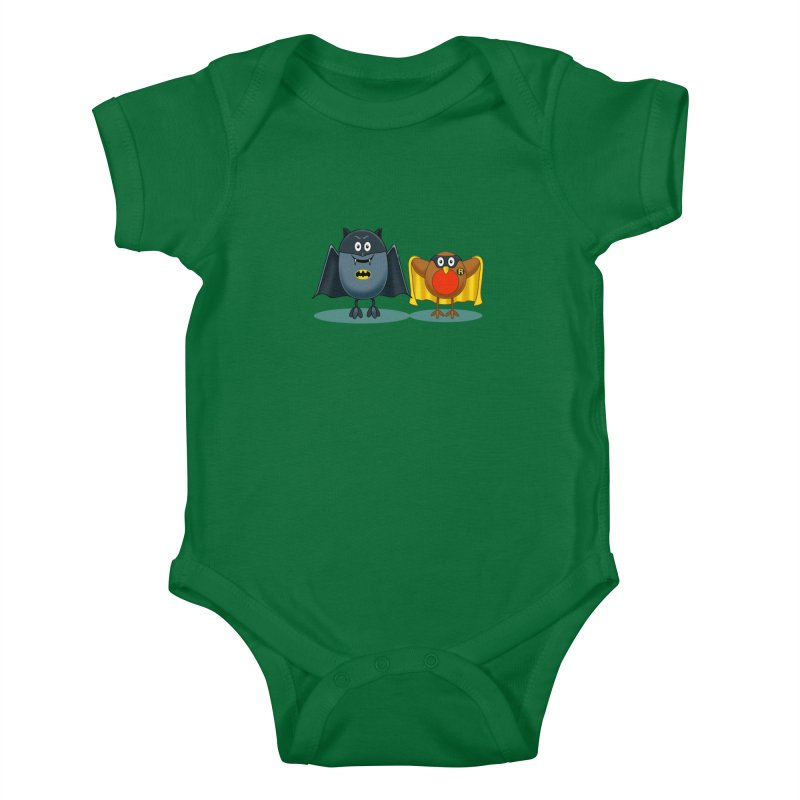 Bat and Robin Kids Baby Bodysuit by steveash's Artist Shop