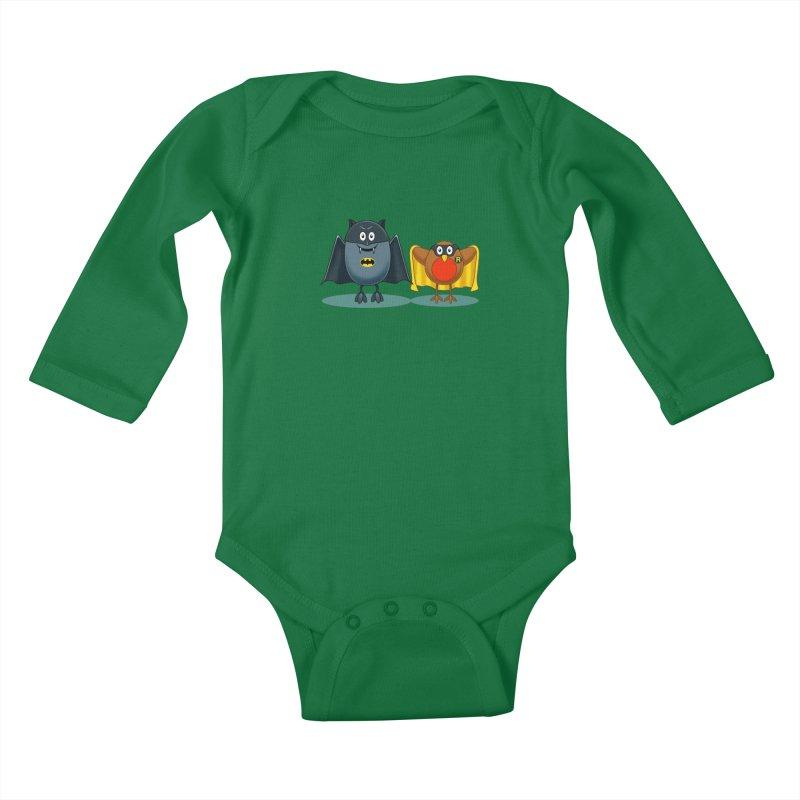 Bat and Robin Kids Baby Longsleeve Bodysuit by steveash's Artist Shop