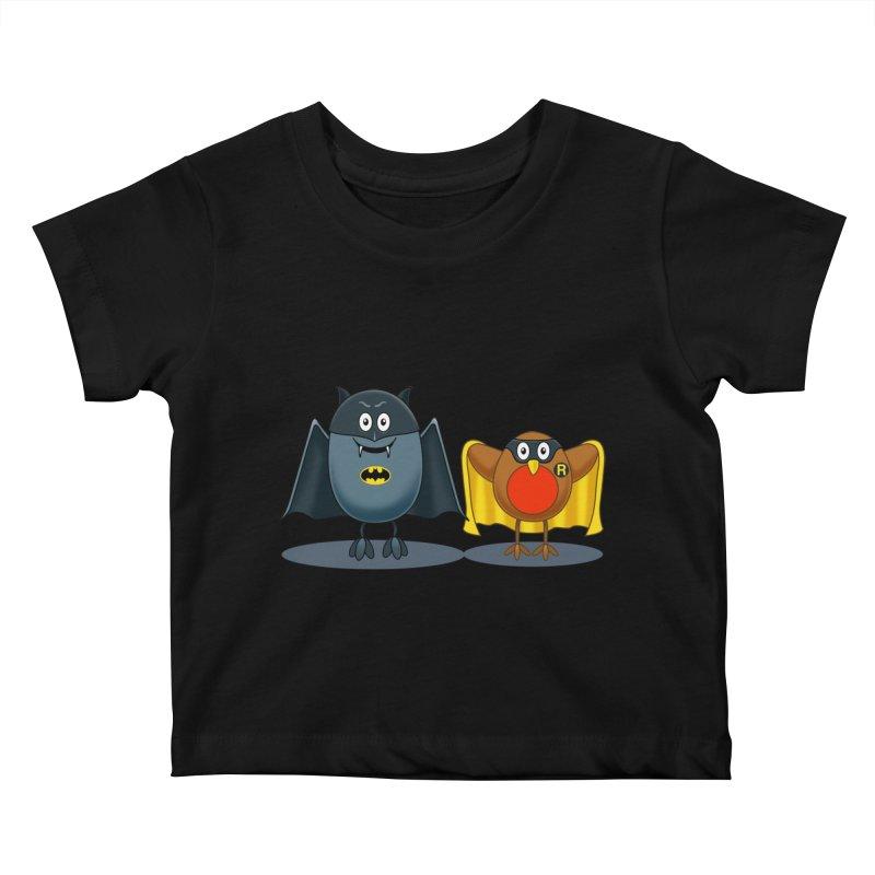 Bat and Robin Kids Baby T-Shirt by steveash's Artist Shop