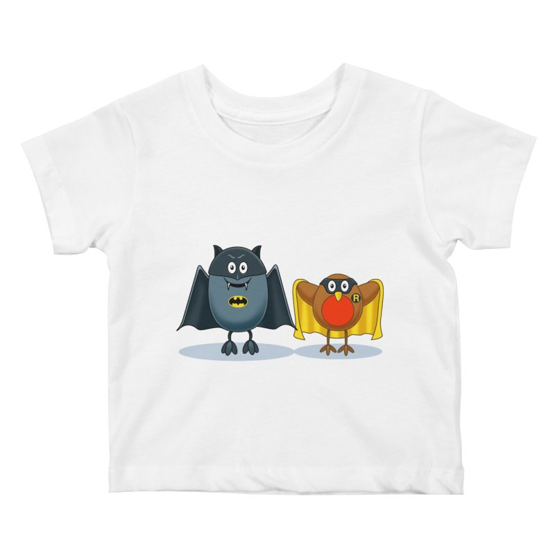 Bat and Robin Kids Baby T-Shirt by steveash's Artist Shop