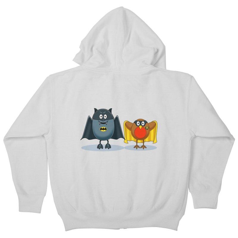 Bat and Robin Kids Zip-Up Hoody by steveash's Artist Shop