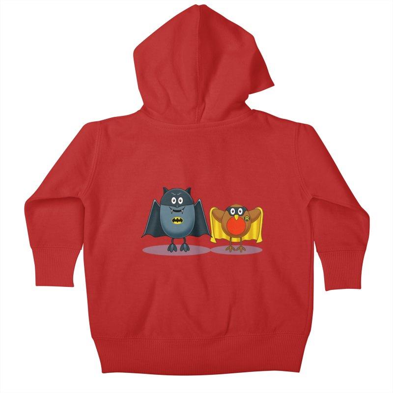 Bat and Robin Kids Baby Zip-Up Hoody by steveash's Artist Shop