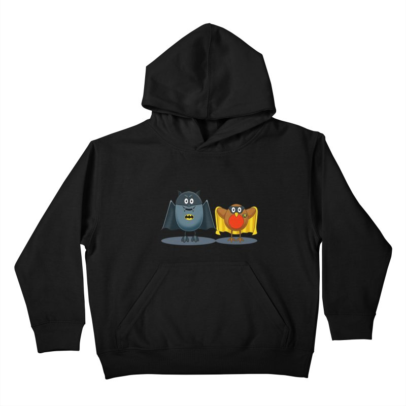 Bat and Robin Kids Pullover Hoody by steveash's Artist Shop
