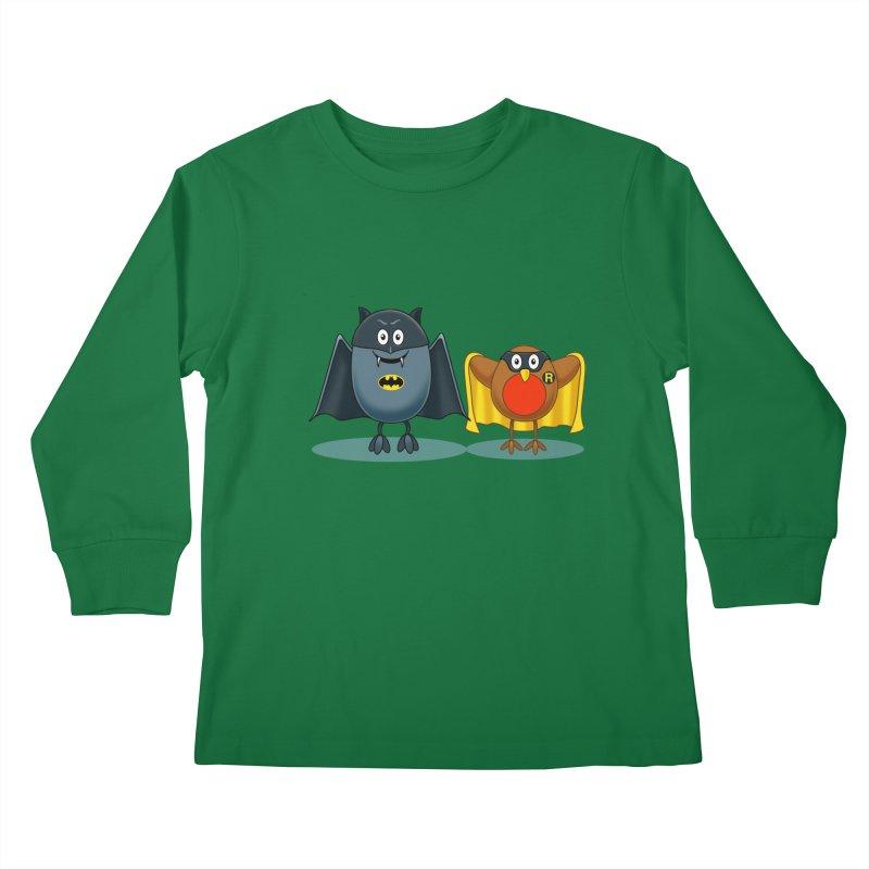 Bat and Robin Kids Longsleeve T-Shirt by steveash's Artist Shop