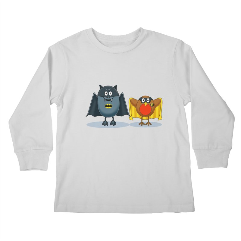 Bat and Robin Kids Longsleeve T-Shirt by steveash's Artist Shop