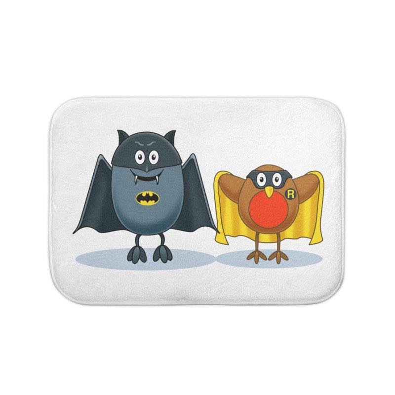 Bat and Robin Home Bath Mat by steveash's Artist Shop